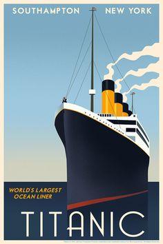 Steve Thomas ha creado su liberación de un cartel del viaje del vintage para el Titanic de James Cameron completa con Rose y Jack en la proa de la embarcación.