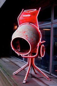 Neon outlined Concrete mixer by David Batchelor