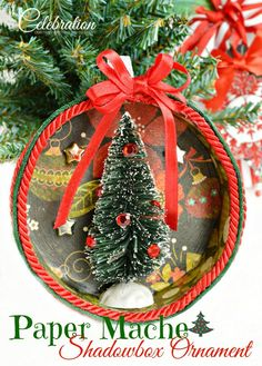 Paper Mache Shadowbox Ornament - let your holiday creativity run wild with this fun and easy ornament! From littlemisscelebration.com