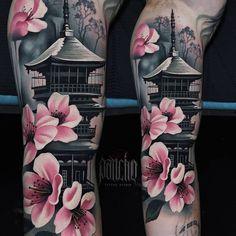 Pagoda tattoo by a d pancho tattoo designs sleeve sketches art 20 best ideas tattoo Japanese Temple Tattoo, Japanese Tattoo Women, Japanese Tattoo Symbols, Japanese Tattoo Designs, Japanese Tattoo Art, Japanese Sleeve Tattoos, Best Sleeve Tattoos, Tattoo Sleeve Designs, Japanese Forearm Tattoo