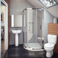 Cove En Suite Bathroom Suite w/ Quadrant Enclosure Bathroom Design Layout, Modern Bathroom Design, Modern Bathrooms, Layout Design, Ensuite Bathrooms, Small Bathroom, Bathroom Ideas, Quadrant Shower Enclosures, Beautiful Bathrooms