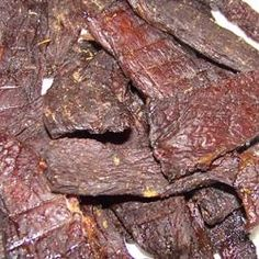 Another pinner says: Best jerky recipe I have found. I make it with either venison or round steak. Best Venison Recipe, Venison Jerky Recipe, Homemade Beef Jerky, Jerky Recipes, Venison Recipes, Meat Recipes, Cooking Recipes, Smoker Recipes, Gourmet
