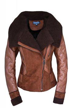 Turn-down Collar Long Sleeve Leather Winter Coat