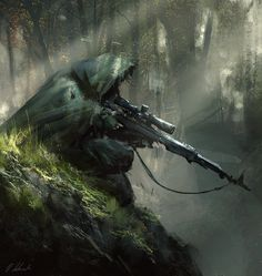 "Sniper ambush by daRoz | Author's note: ""Jama Jurabaev inspired sketch! Watch my first Video Real-Time tutorial----> gumroad.com/l/gxZl """