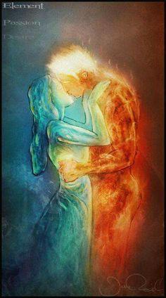 Forbidden love of ~ JRul on deviantART - Maria Rhodes - Fantasy Kunst, Fantasy Art, Games Tattoo, Art Amour, Twin Flame Love, Twin Flames, Flame Art, Creation Art, Forbidden Love
