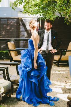 And the bride wore blue. . . Bright Blue Reem Acra. Photography: Nima Salimi - nimasalimi.com/ Read More: http://www.stylemepretty.com/california-weddings/2014/04/28/something-blue-garden-wedding-in-healdsburg/