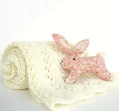 Nursery - Vintage Baby Blanket Cream Knit Afghan Cottage Nursery. $32.00, via Etsy.