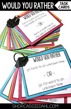 Looking for a fun way to get your students to share a little bit about themselves or just have a little fun? These Would You Rather Questions are perfect! There are 100 total questions included. Perfect for Morning Meeting, Back to School or as a Get to Know you Activity!