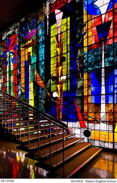 John Piper's first secular stained glass commission: artificially lit mural in staircase lobby of Arthur Sanderson and Sons, Berners Street, 21 x 32 feet. Made by Patrick Reyntiens. Fused Glass Art, Stained Glass Art, Stained Glass Windows, Coventry Cathedral, Jewelry Wall, John Piper, Glass Installation, Leaf Art, Public Art