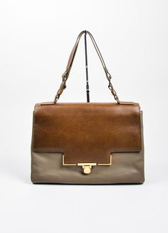 """Taupe and Brown Lanvin Leather Two Toned """"Otylie"""" Shoulder Bag"""