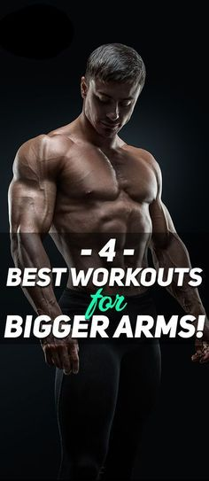 Check out The 4 Best Workouts for Bigger Arms! The workouts help deliver four different results that will help you develop bigger and stronger arms --> 1) Build crude muscle mass; 2) Develop muscle definition; 3) Workout the short-head of the Biceps; and 4) Workout the peak of the biceps. When all of these are combined together they will help develop more impressive arms. Check them out! #fitness #muscle #exercise #workout