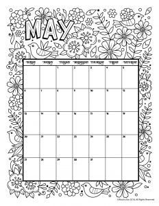 Students can color this April calendar