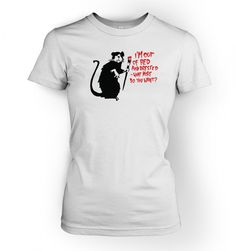 Banksy Out Of Bed Rat Ladies T-shirt