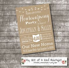 Housewarming invitation house warming party new home open house invite rustic digital printable invitation 13789