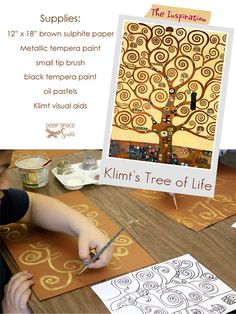 Gustave-Klimt-Tree-of-Life- have done this before on black and coloured card (kids chose) with metallic paper and pens kids love it and the results were fantastic...might do it again soon