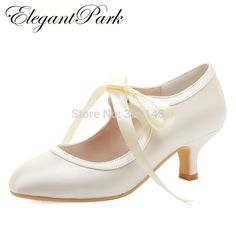 Women Wedding Shoes White Ivory Close Toe Mary Jane Mid Heel Lace up satin Bride Lady Prom Party Bridal Pumps Comfortable HC1803-in Women's Pumps from Shoes on Aliexpress.com | Alibaba Group