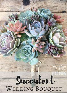 Succulent Wedding Bouquet, Customized Wedding Bouquet, Bridal Bouquet, Brides Bouquet, Wedding Succulents, wedding day Succulents #affiliate #weddings #flowers #bouquets