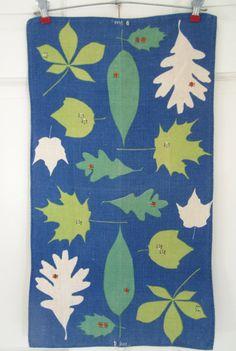 Vintage VERA Towel Ladybugs Leaves on BLUE by NeatoKeen on Etsy