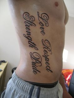 Script Tattoos on Men's Ribs