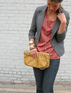 rose top under grey blazer w black/gray jeans
