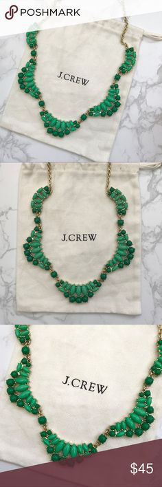 """Green J. Crew Scalloped Stone Necklace NWOT Green J. Crew statement necklace. Approx. 19"""" long with 3"""" extender chain for adjustable length. Never worn. Was a gift so tags removed, but never worn and in perfect condition. Comes in original dust bag. J. Crew Jewelry Necklaces"""