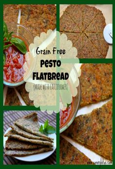 Grain Free Pesto Flatbread (made with cauliflower) - Low Carb