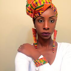 Kente Headwrap, Earring and Bangles set
