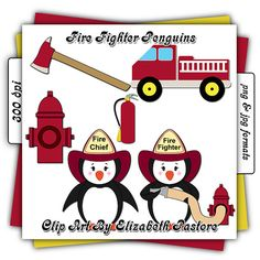 Fire Fighting Penguins Clip Art Collection by ClipArtByElizabeth, $2.50