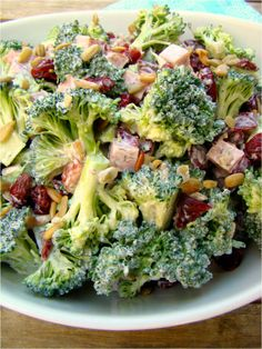 Broccoli Salad with Lemon Dill Dressing and Diced Ham, Cranberries, and Sunflower Seeds