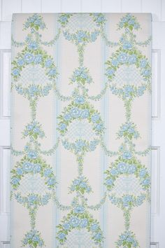 authentic vintage wallpaper for sale by the full roll from Hannah's Treasures Vintage Wallpaper colleciton. Wallpaper For Sale, Retro Wallpaper, Blue Roses, Room Dimensions, Damask, 1960s, Quilts, Floral, Pattern