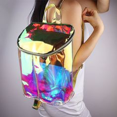 $44 Hologram Backpack Clear Transparent Bag Double Adjustable Strap Holographic Book #Handmade #Backpack