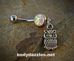 Tiny Owl Glitter Opal White Belly Button Navel Ring 14ga