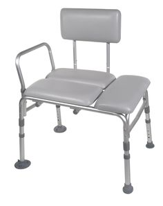 Drive Medical Padded Seat Transfer Bench, Gray