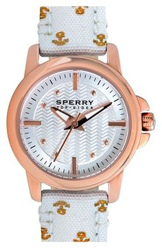 Free shipping and returns on Sperry Top-Sider® 'Halyard' Print Canvas Strap Watch, 28mm at Nordstrom.com. Signature wave-siping texture details the three-hand dial of a nautical watch secured with a fun printed-canvas strap.