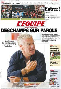 L'Equipe del viernes 17/08/12. Habla Didier Deschamps.
