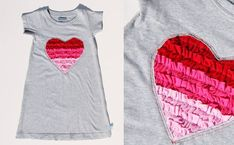 ruffled heart dress from recycled t shirts Ruffled Heart Valentine Dress Recycled T Shirts, Old T Shirts, Recycled Dress, Diy Clothing, Sewing Clothes, Diy Mode, Diy Couture, Creation Couture, Heart Dress
