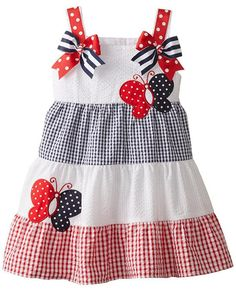 ADORABLE Rare Editions Red White BUTTERFLIES Tiered Seersucker Dress TODDLER Girls (Sz 3T-6x) ~Color Me Happy Boutique