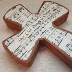 Wood Hymnal Cross  The Old Rugged Cross by BeingReMade on Etsy