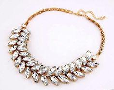 NEW Hot Trend Clear Crystal Leaf Bubble Bib Resin Pendant Statement Necklace US #JewelStorie #StatementPendantResinBib
