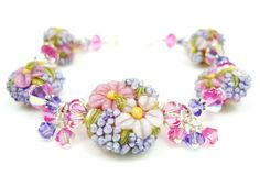 Floral Lampwork Bracelet Glass Flower Bracelet by BeadzandMore, $124.00