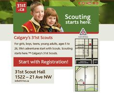 31st Scouts Calgary 2013/14 Youth Registration, 7 - 9 pm, Sept 3, 4, 5 @ 31st Scout Hall, 1522 - 21 Ave NW. Cash or Cheque. Co-Ed. 5 Age appropriate Sections for girls, boys, teens, young women & men. • Beaver Scouts (5-7) $168 • Cub Scouts (8-10) $168 • Scouts (11-14) $168 • Venturer Scouts (14-17) $168 • 3rd & subsequent family members, Beavers through Venturers: $88 ea. • Rover Scouts (18 -26) FREE  • Adult volunteer Leaders FREE •  Fees qualify for Canada Children's Fitness Tax Credit Beaver Scouts, Tax Credits, Cheque, Beavers, Life Is An Adventure, Cub Scouts, Calgary, Young Women, Stuff To Do