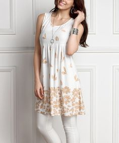Loving this White Floral Sleeveless Empire-Waist Tunic Dress - Plus on #zulily! #zulilyfinds