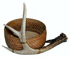 White tail deer antler pine needle basket