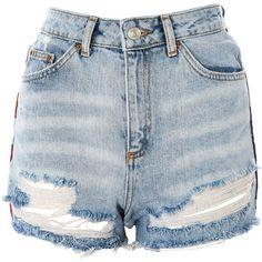 TopShop Moto American Flag Splice Mom Shorts (2.675 RUB) ❤ liked on Polyvore featuring shorts, topshop, mid stone, summer denim shorts, short jean shorts, american flag denim shorts, summer jean shorts and jean shorts