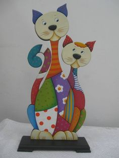 Gatos country - Her Crochet Dot Painting, Painting On Wood, Cat Crafts, Wood Crafts, Transfer Images To Wood, Scrappy Quilt Patterns, Paper Mache Projects, Paper Mache Animals, Wood Craft Patterns