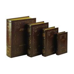 Woodland Imports 80510 Wood and Leather Book Box Stylish Book Storage (set of 4)