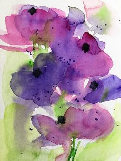 Purple Abstract Flowers In The Garden Art Print by Britta Zehm