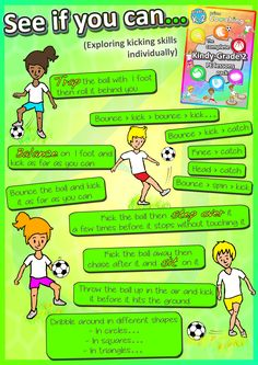 "Homework/At Home Practice FREE ""See if you can."" POSTER: Individual ways your kids at school can improve their soccer and kicking PE skills - part of the complete sport lesson pack! Soccer Coaching, Soccer Training, Real Madrid, Soccer Drills For Kids, Soccer Practice, Pe Lessons, Guidance Lessons, French Lessons, Spanish Lessons"