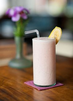 Yum! This Strawberry, Banana, and Cherry Shakeology tastes great with either fresh or frozen fruit. // healthy recipes // shakeology // strawberries // beverages // Beachbody // BeachbodyBlog.com