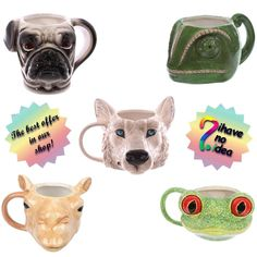 WOW Chameleon, Tree Frog, Camel, Pug, Wolf Head Shaped Ceramic Mug, Cup Gift BOX Head Shapes, Tree Frogs, Chameleon, Piggy Bank, Baby Items, Pugs, Camel, Wolf, Ceramics